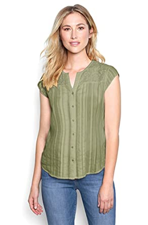 64a7c87d69 Image Unavailable. Image not available for. Color: Orvis Women's Lace-Yoke  Cap-Sleeved Shirt ...