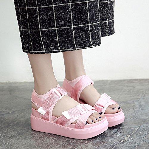 QQWWEERRTT Sand Chaussures Pente Nouveau Étudiant Été avec Loisirs Rose Sandals Mode Chaussures Forme Plate Épais Rome Lycra Femelle Universel Sport rEw4Trq