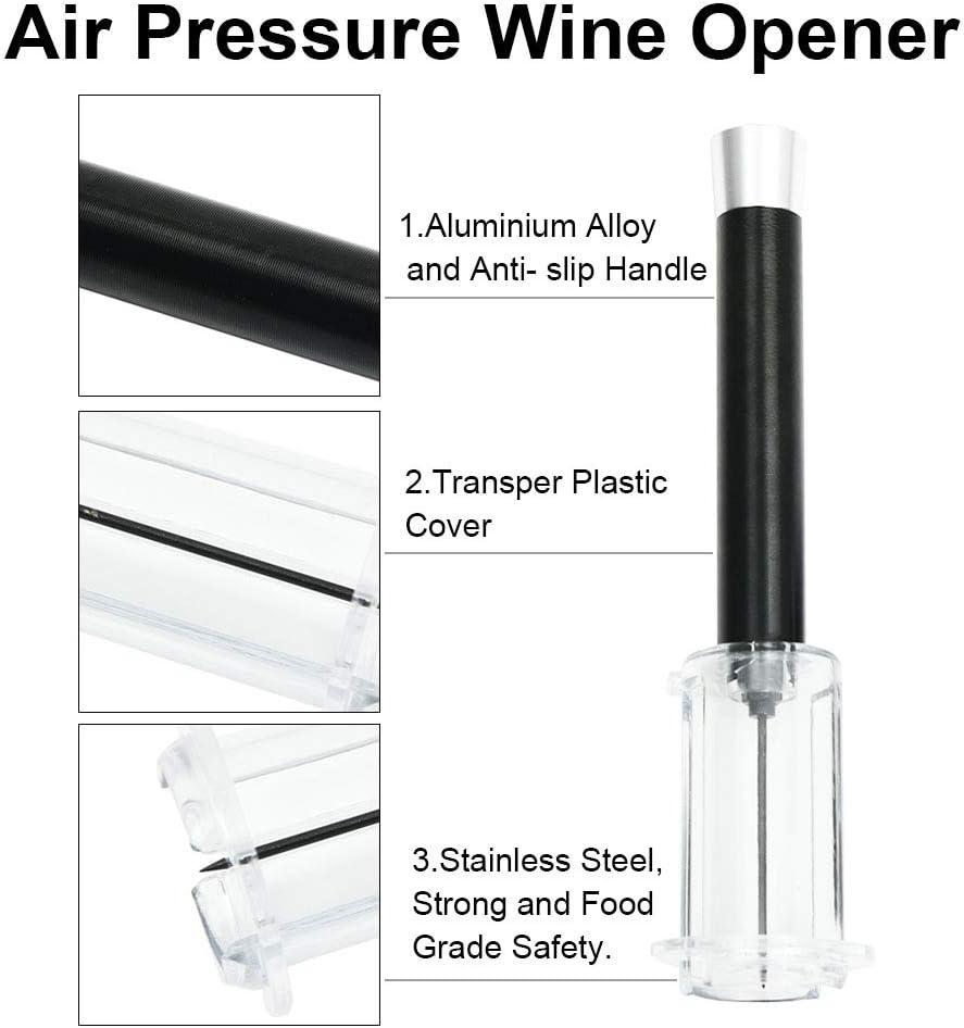 Noir en li/ège Remover Facile Pompe /à air Pression High End pneumatique Bouteille de Vin Opener