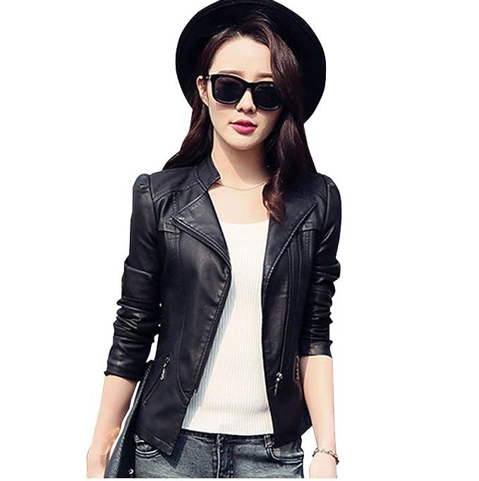 Chaqueta de PU cuero motera corta vintage rock chaquetas de bike cazadora para mujer: Amazon.es: Ropa y accesorios