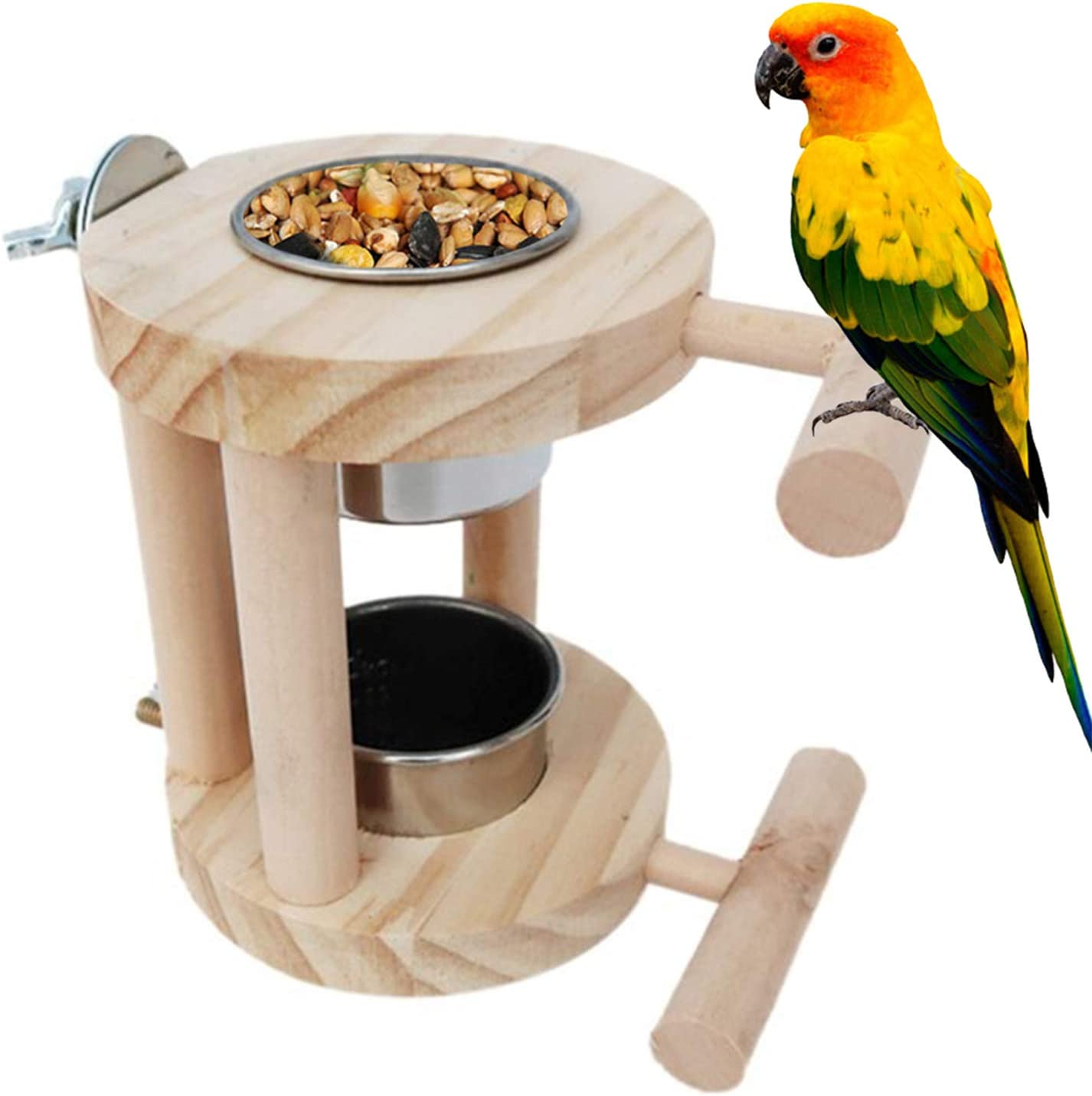kathson Bird Feeding Cups, Stainless Steel Parrot Food & Water Cage Bowls, Bird Perches Stand Cage Accessories for Parakeet Budgies Fiches Lovebirds