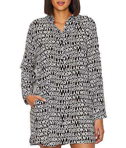DKNY Logo Lock Up Woven Sleep Shirt, M, Black Logo Print