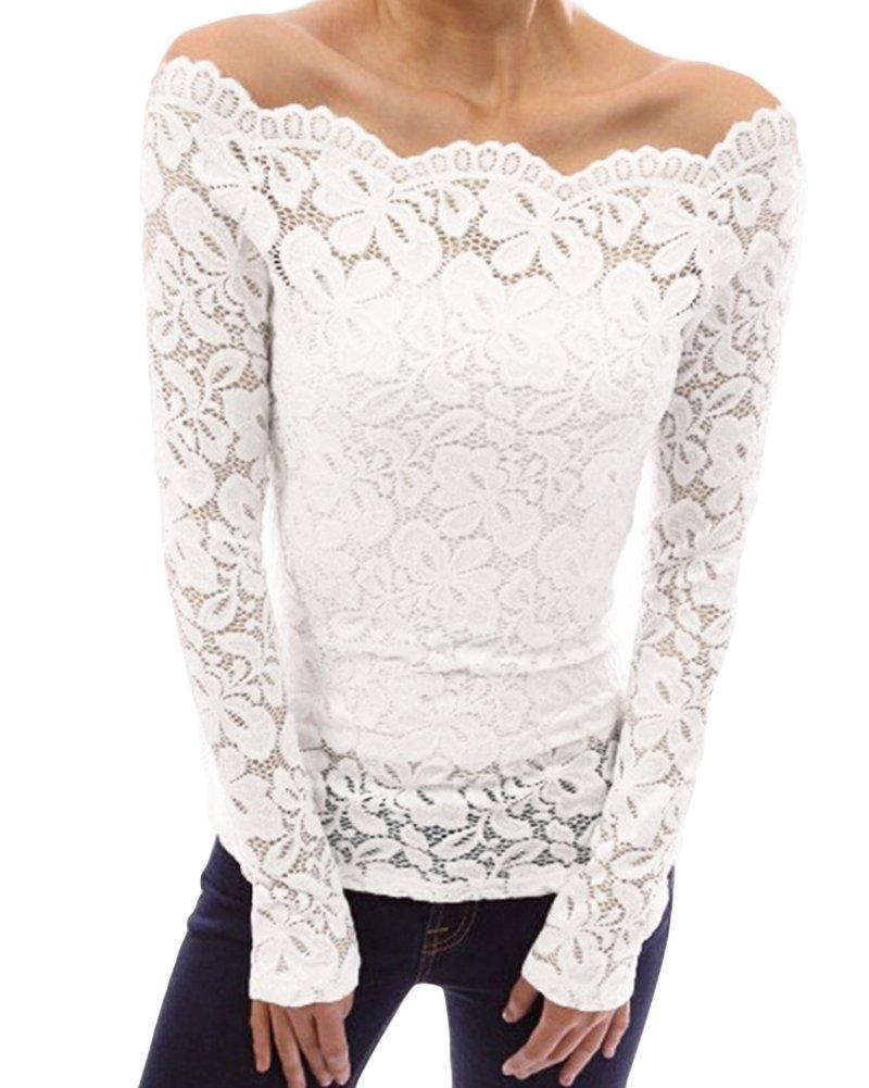 Romacci Women's Off Shoulder Floral Lace Blouse Long Sleeve Slash Neck Top Shirt