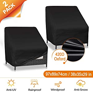 """CAVEEN Patio Chair Covers, Waterproof Lounge Deep Seat Cover, 420D Heavy Duty Oxford Fabric Outdoor Patio Furniture Cover Stackable with Durable Double Stitching, 35"""" L x 38""""W x 29""""H, 2 Packs, Black"""