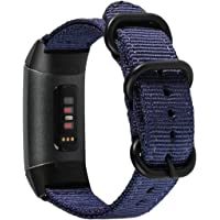 METEQI Bands Woven Nylon Sport Loop Wrist Strap Compatible with Fitbit Charge 4/ Fitbit Charge 3/Charge 3 SE (Midnight…