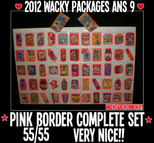 (2012 Wacky Packages Ans9 Complete Pink Border Set 55/55 + Wrapper)