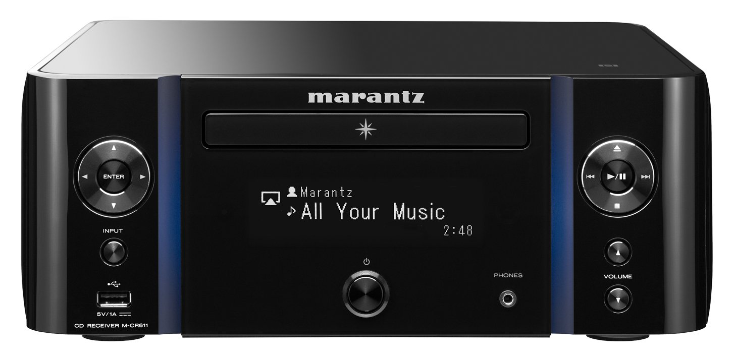 Marantz M-CR611 Network CD Receiver - with WiFi, Airplay & Bluetooth | One Device, Multiple Functionalities | Unlimited Music Streaming | Large Display & Vertical Accent Lighting