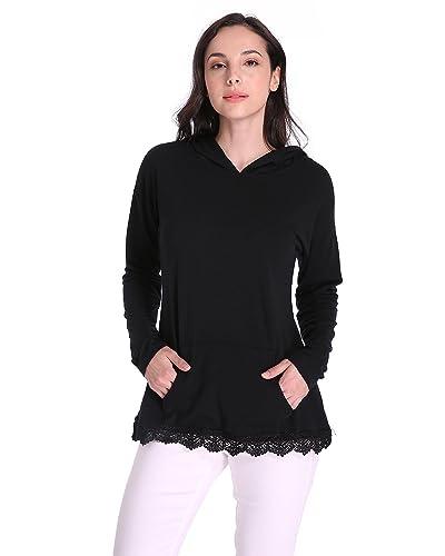 Auxo Mujeres Sudadera Manga Larga con Capucha de punto Suéter Camiseta Empalme Encaje Tops