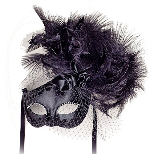 VIVO Womens Elegant Black Venetian Masquerade (Authentic Mardi Gras Masks)