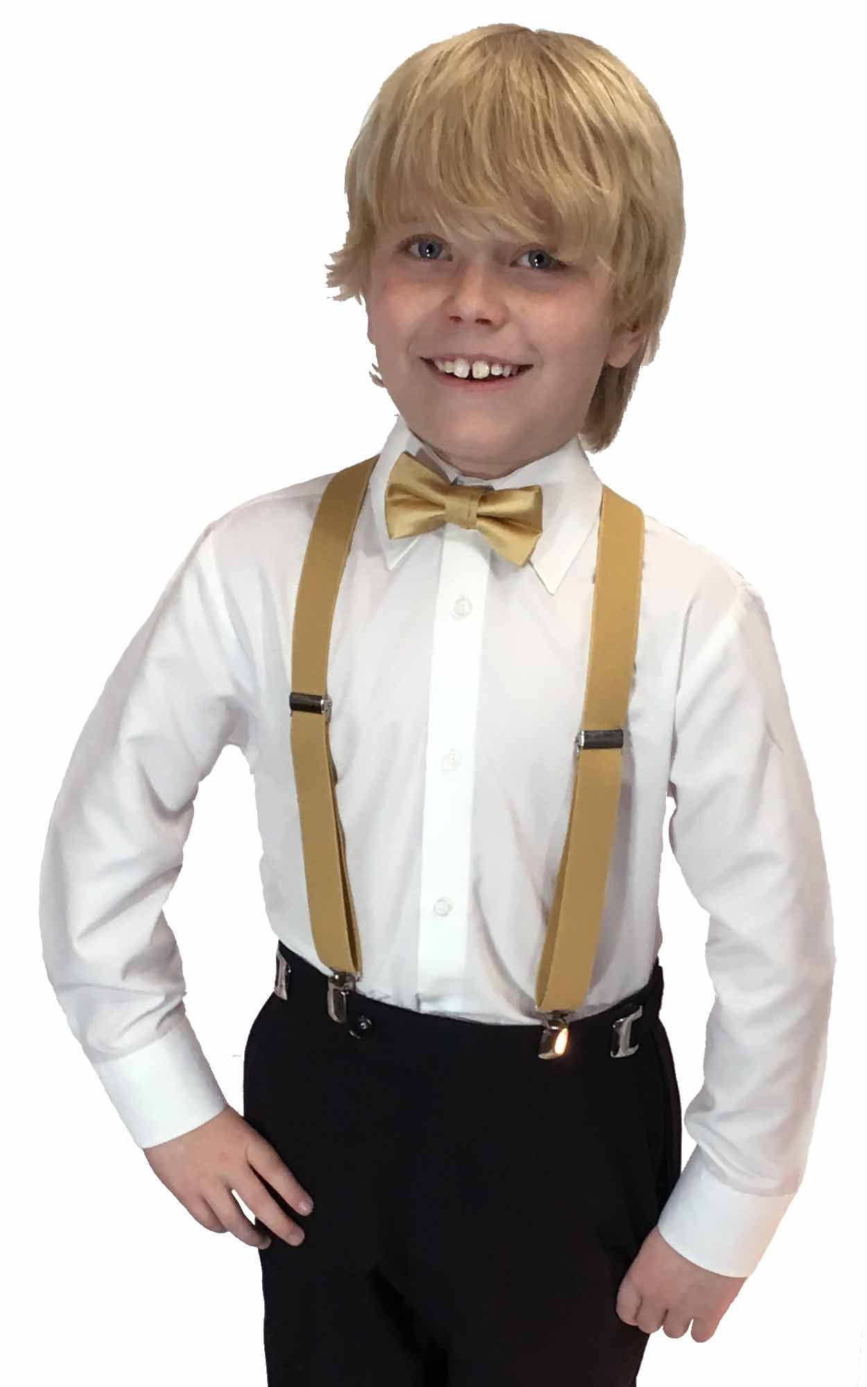 Spencer J's Boys X Back Suspenders & Bowtie Set Variety of Colors (Gold)