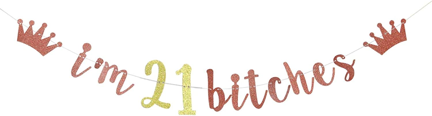 I'm 21 Bitches Banner, 21st Birthday Party Decor, Funny Twenty-one Years Old Birthday Banner, Girl's 21st Birthday Party Decorations (Rose Gold)