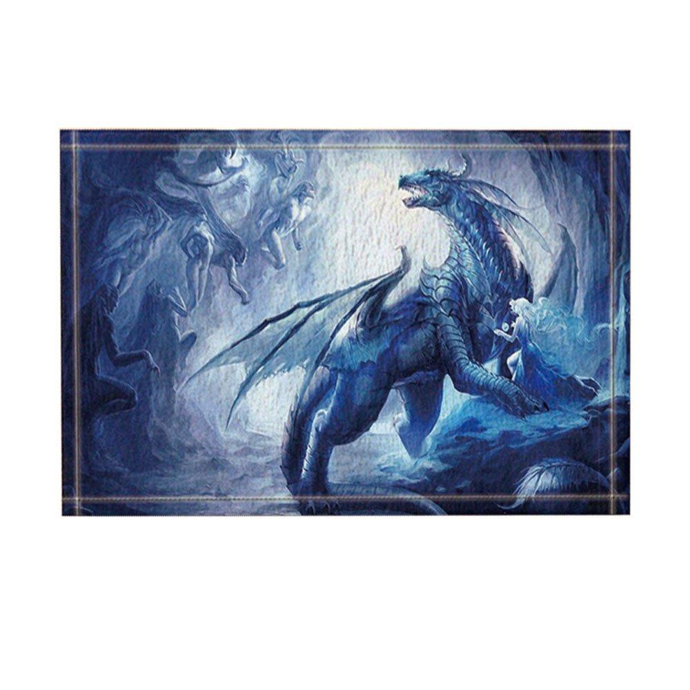 NYMB Fantasy Decor, Dragon with Wing Protect a Girl for Kids Bath Rugs, Non-Slip Doormat Floor Entryways Indoor Front Door Mat, Kids Bath Mat, 15.7x23.6in, Bathroom Accessories