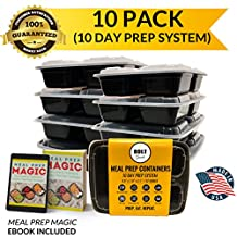Bolt Goods 3 Compartment Meal Prep Containers (32 oz, 10 pack) USA MADE Stackable Food Storage with Lids for Portion Control, Fitness, Bodybuilding & Dieting - Microwave & Dishwasher Safe - Bento Boxes - Lunch - 100% BPA Free