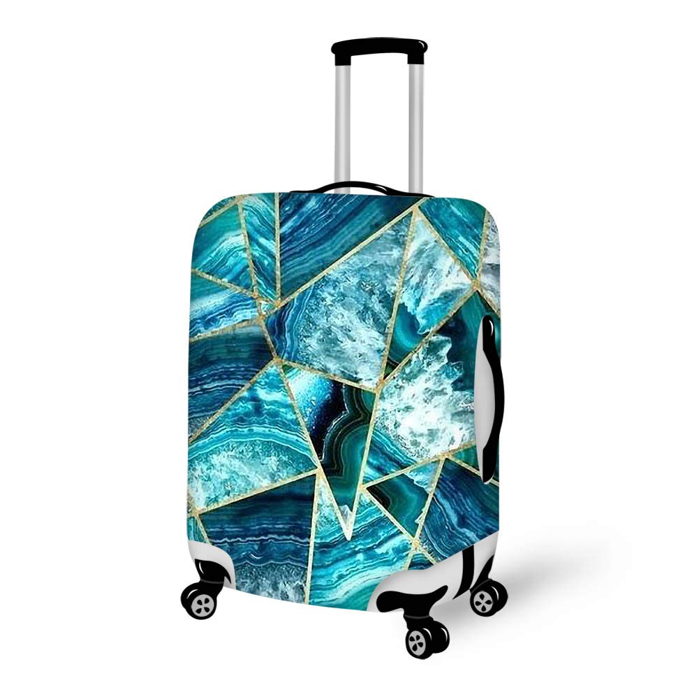 Luggage Cover Turquoise Navy Blue Agate Geometric Triangles Protective Travel Trunk Case Elastic Luggage Suitcase Protector Cover