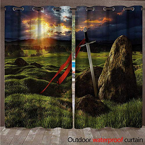 cobeDecor King Home Patio Outdoor Curtain Arthur Camelot Mythology W72 x L84(183cm x 214cm)