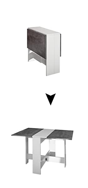 C3BlancoGrisMetalRectangular Trick Mesa Plegable Modern Loft OnX0P8wk