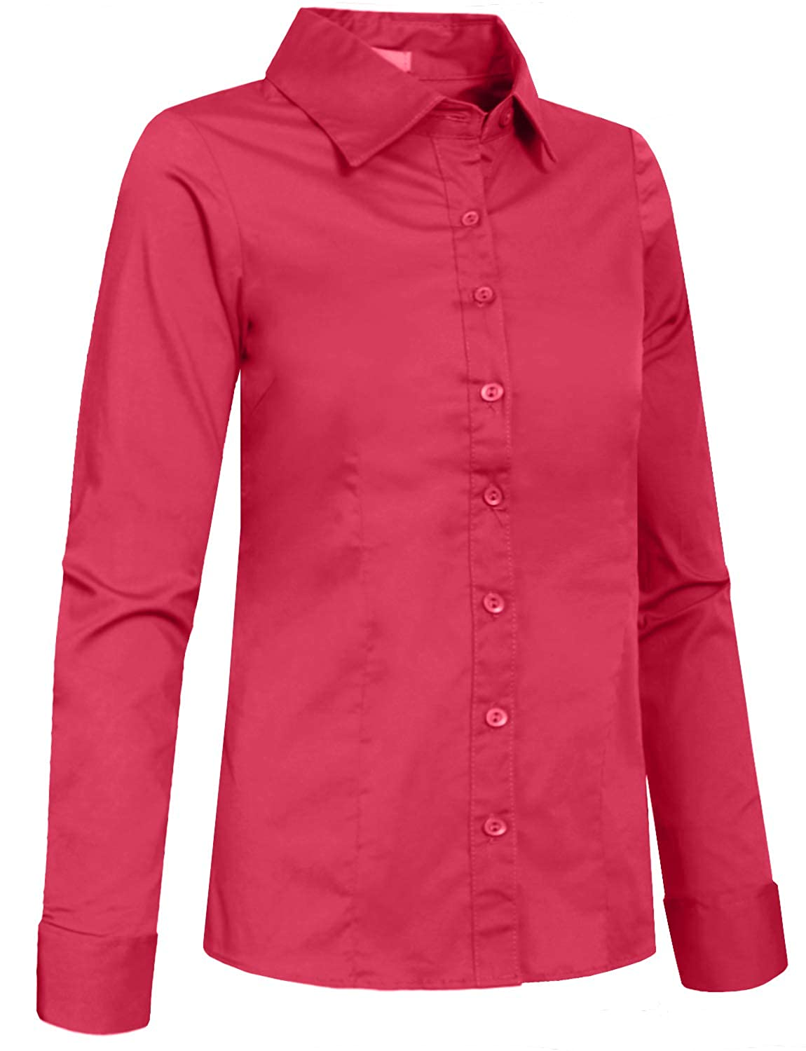 LOVNY Girls Basic Casual Long Sleeve Roll Up Button Down Blouse Shirts J