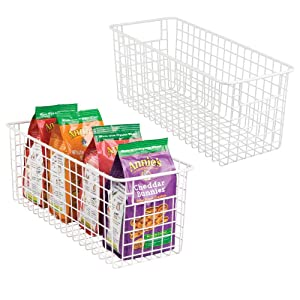 """mDesign Farmhouse Decor Metal Wire Food Storage Organizer Bin Basket with Handles for Kitchen Cabinets, Pantry, Bathroom, Laundry Room, Closets, Garage - 16"""" x 6"""" x 6"""" - 2 Pack - Matte White"""