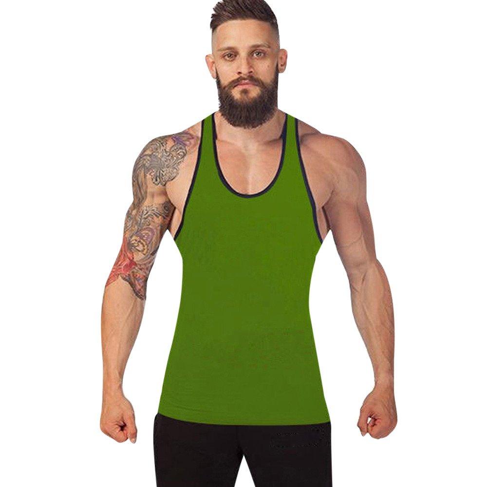 KIKOY Casual Cozy Men's Solid Gym Tank Top Vest Singlet Sport Sleeveless Shirt