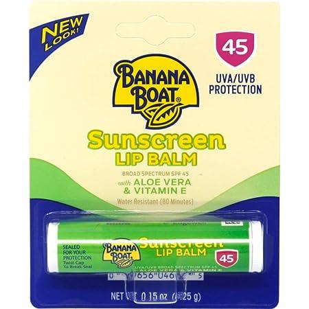 Banana Boat Sunscreen Aloe Vera with Vitamin E Broad Spectrum Sun Care Sunscreen Lip Balm – SPF 45, 0.15 Ounce Pack of 24