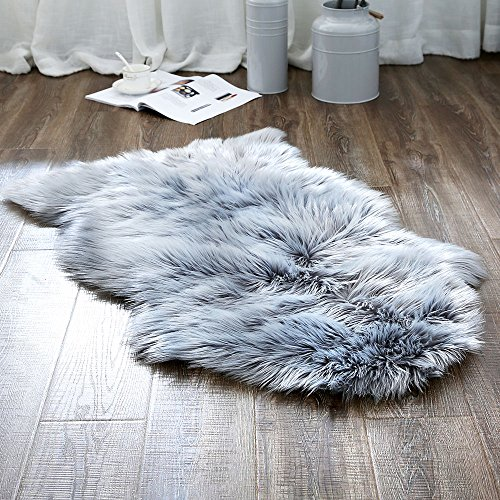ojia deluxe soft faux sheepskin chair cover seat pad plain shaggy area rugs for bedroom sofa floor (2ft x 3ft, grey)