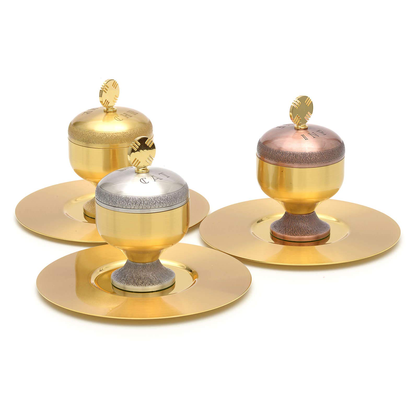 Holy Oils: Stocks in Gold Plated Brass with a Saucer, Catechumens by Holyart (Image #3)