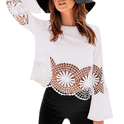 01c9b1edc Fashion Women Solid O-Neck Lace Patchwork Insert Hollow Hem T-Shirt Top  Blouse