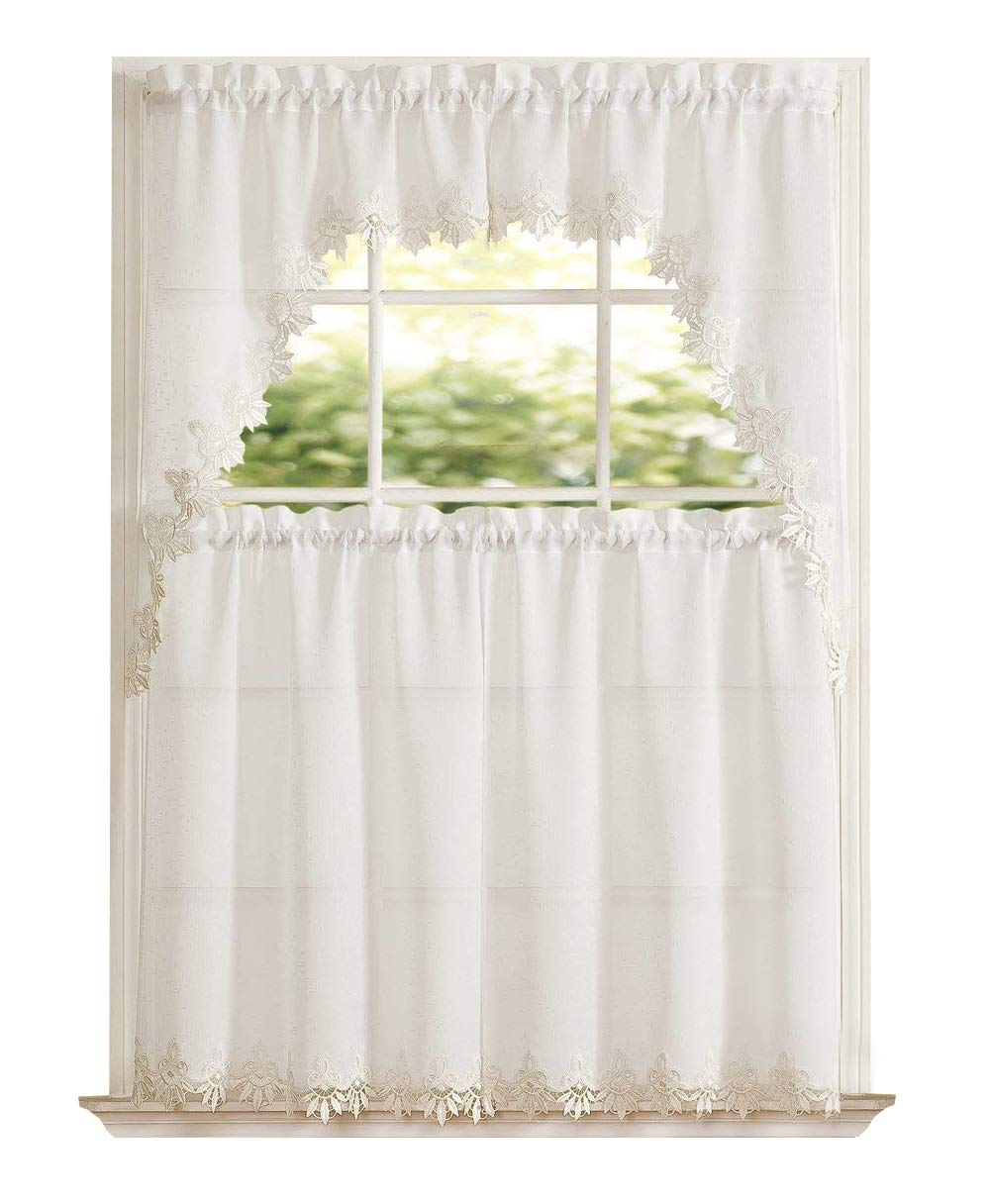 GoodGram Orchard Luxurious Matte Sheer & Macrame Kitchen Curtain Tier & Swag Set Assorted Colors (White)