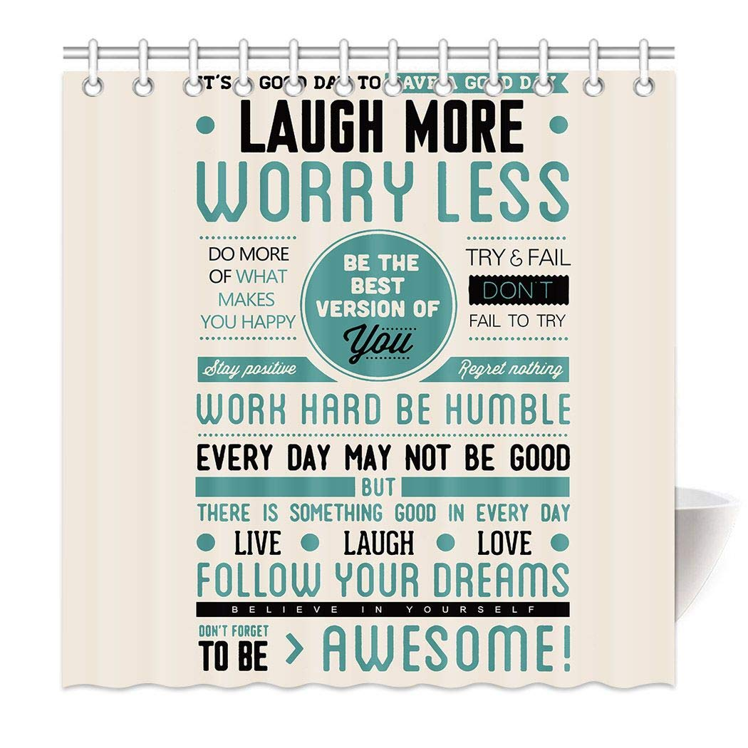 HommomH 72'' x 72'' Shower Curtain with Hooks Bathroom Waterproof Awesome Quotes Happiness