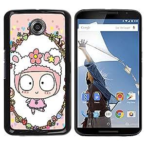 - Cute Girly Lovely - - Monedero pared Design Premium cuero del tir¨®n magn¨¦tico delgado del caso de la cubierta pata de ca FOR Google Nexus 6 & Motorola Nexus 6 Funny House