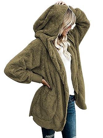 iChunhua Womens Fuzzy Fleece Jackets Loose Open Front Hooded Cardigan Coats Outwear  Pockets bdf681b58