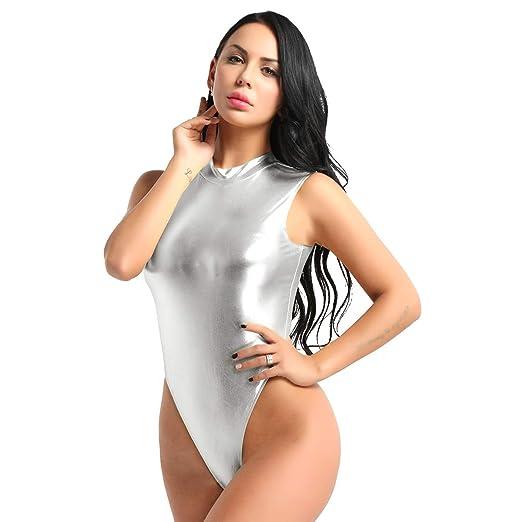 Freebily Body Femme Justaucorps Gymnastique Danse Classique Taille Haute  Combinaison Thong Métallique Bodysuit Jumpsuit sans Manches M-XL   Amazon.fr  ... 7a134d47b01