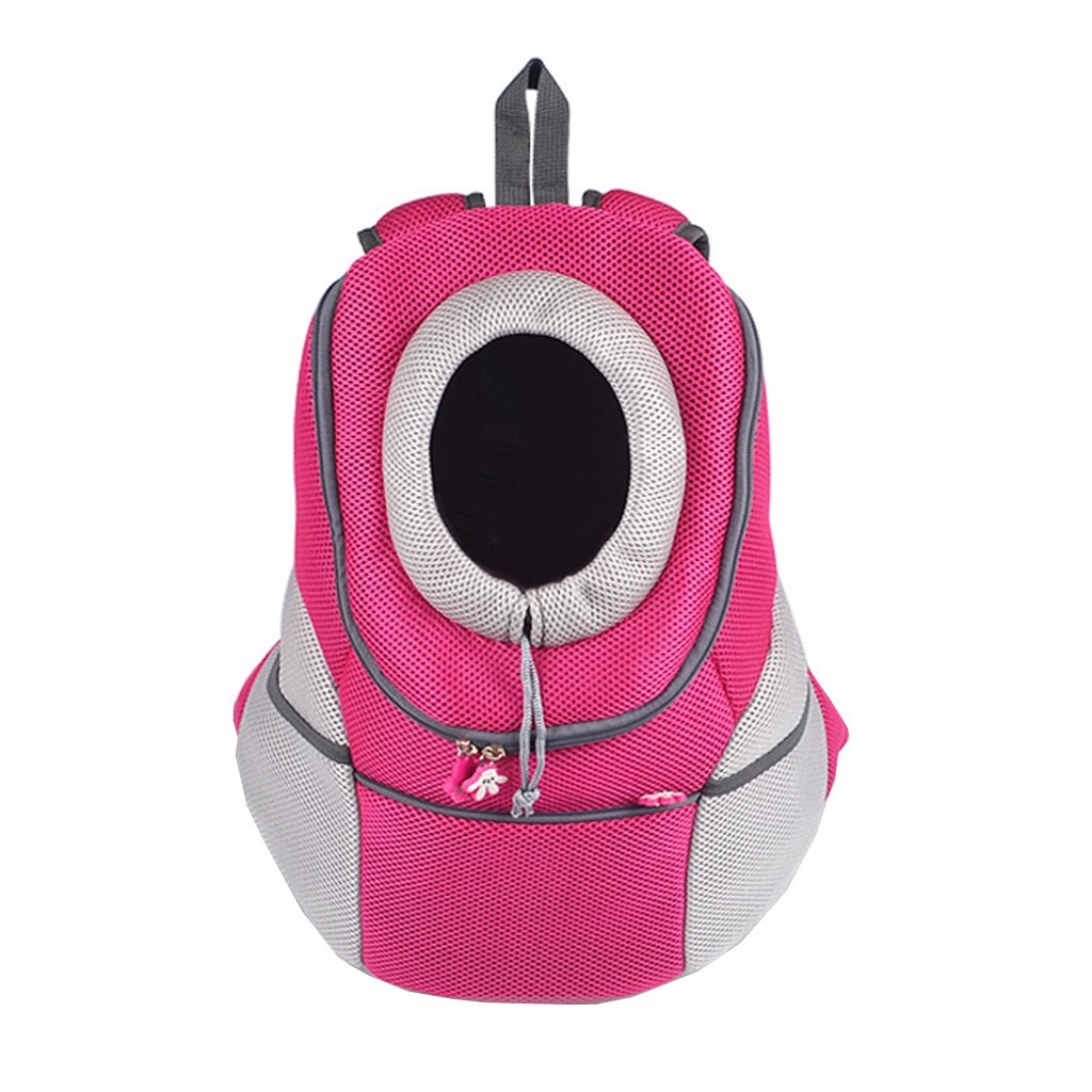 M(03kg) Pet Carrier Bag Pink Pet Backpack Carrier Breathable Head Out Design Pet Cat Dog Puppy Carrier Travel Bag Outdoor Portable Double Shoulder Bags Three Sizes Portable Collapsible (Size   M(03kg))