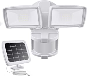 Solar Security Lights Outdoor, LED Solar Motion Sensor Light , GLORIOUS-LITE Rechargeable 1000lm Flood Light, 2400mAh Battery, 5500K, IP65 Waterproof for Garage, Yard, Porch, Entryways - White