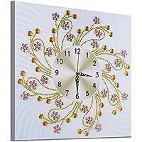 Honestyivan DIY 5D Pintura de diamante Bordado Punto de cruz Forma Especial Diamante Rhinestone Reloj de Pared de Fondo Arte de la Casa Decoración de Pared para Salón Oficina, Multicolor-D : 35x35cm, Large, 1