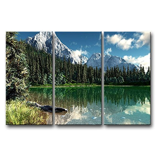 So Crazy Art 3 Pieces Wall Art Painting Rocky Mountain National Park Lake Snow Mountain Trees Prints On Canvas The Picture Landscape Pictures Oil For Home Modern Decoration Print Decor For Girls Room (Rocky Furniture Mountain)