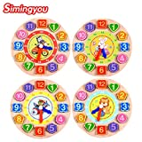 Samy Best 1Pcs/Set Animal Cartoon Educational Toy For Children Digital Wooden Clock Beaded