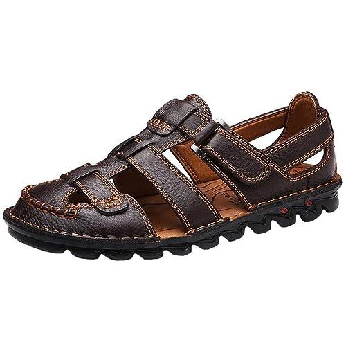 comprar bien precio al por mayor Mitad de precio Yaer Hombres Sandalias de Cuero Zapatos de Playa para los Hombres Zapatos  Tamaño EU38-EU48(2 Color)