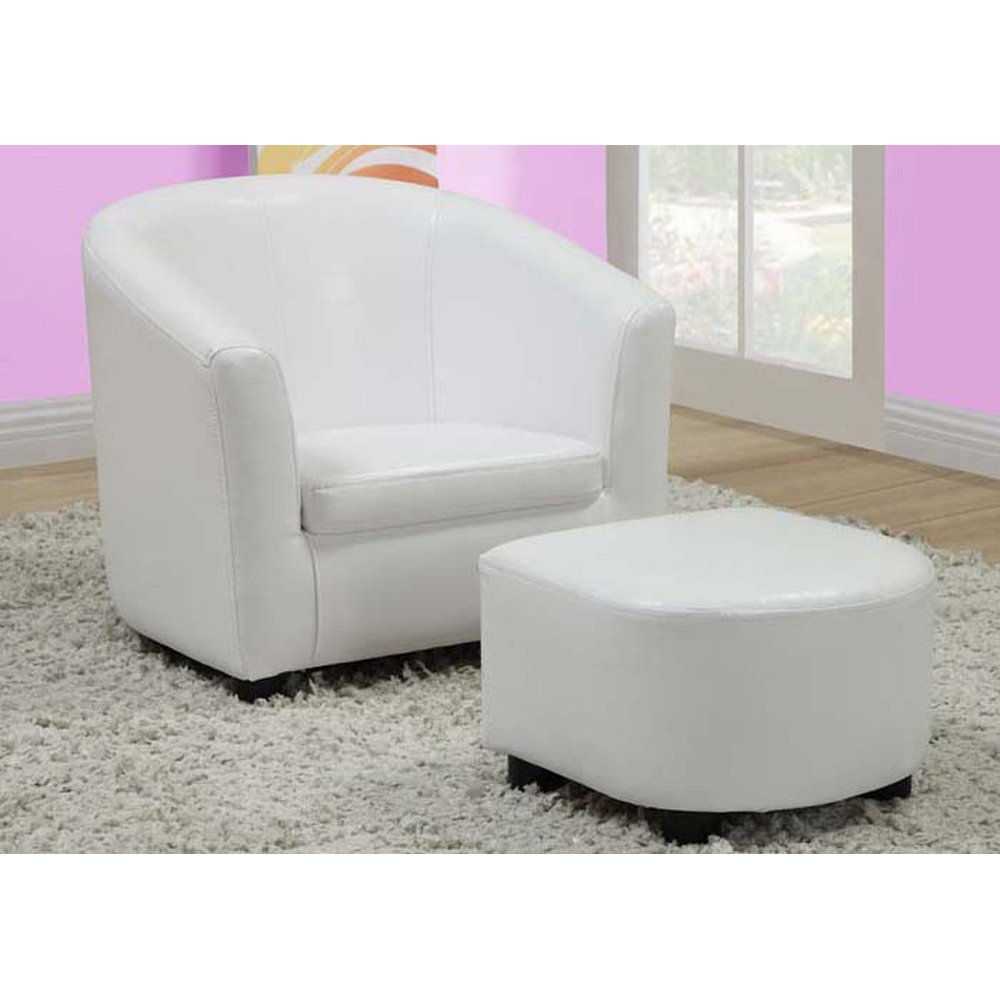 Amazon.com: Monarch Specialties Leather Look Juvenile Chair Ottoman, White,  2 Piece Set: Kitchen U0026 Dining