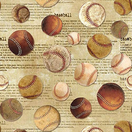 - Vintage Sports Baseball Fabric C6008-BASB from Timeless Treasures by The Yard