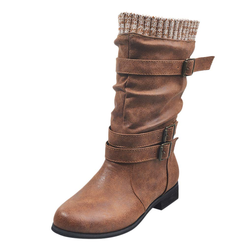 Vdaye High Top Boots Women Fashion Cowboy Riding Leather Boots Retro Casual Large Size Low-Heeled Middle Tube Boots Buckle Strap Comfy Western Shoes by Vdaye