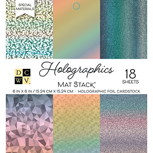 American Crafts 6 x 6 Inch Holographics 18 Sheets Die Cuts with a View Mat Stacks, 6