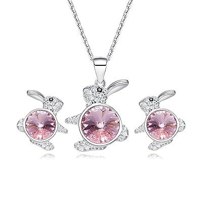 8b9bb61da96fc Amazon.com: XDL S925 Sterling Silver Cute Rabbit Pendant Necklace ...
