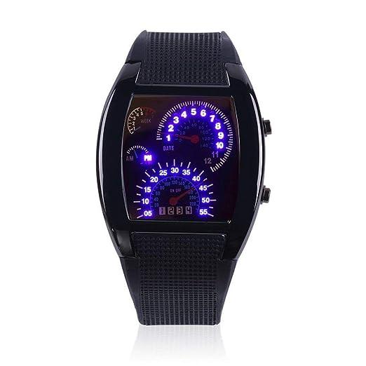 Reloj, Deportes para Hombre RPM Aviación Turbo Flash Azul LED Coche Medidor de Coches Dial Flash Reloj LED Reloj de Pulsera Coche Medidor de Regalo: ...