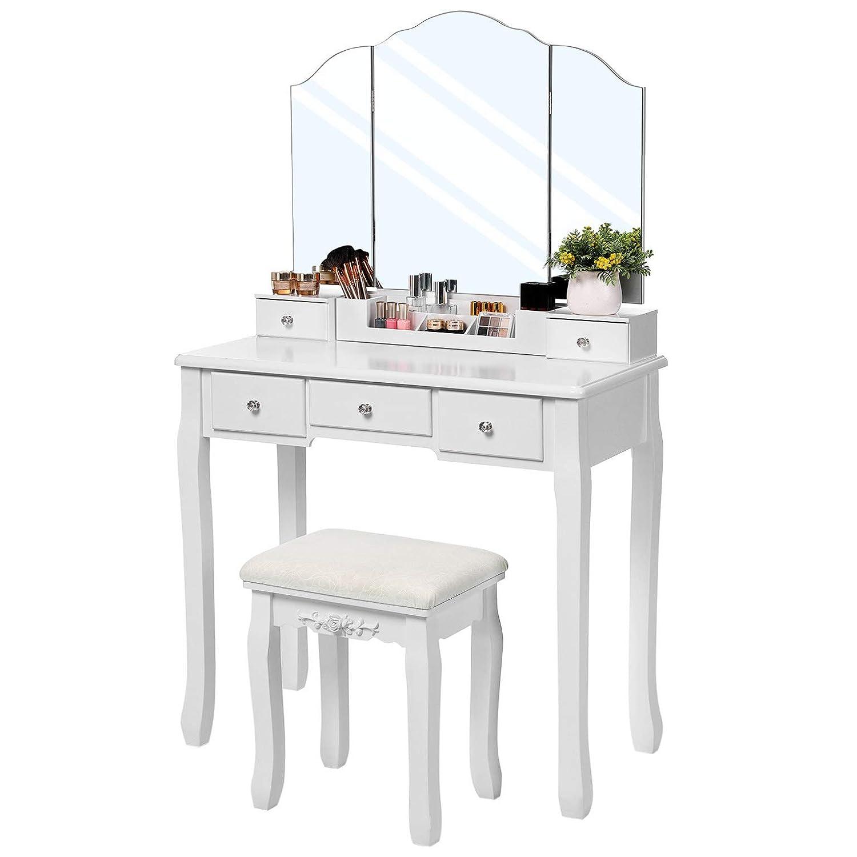 Un Coffret /à Cosm/étiques D/émontable Blanc RDT28WT VASAGLE Coiffeuse avec 5 Tiroirs Miroir Triple sans Cadre Table /à Maquillage avec 1 Tabouret Facile /à Assembler