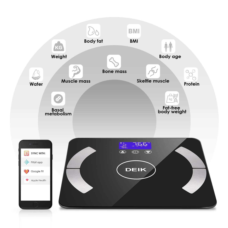 8in1 Bluetooth Personenwaage Körperfettwaage Körper Analysewaage Statistics Neu