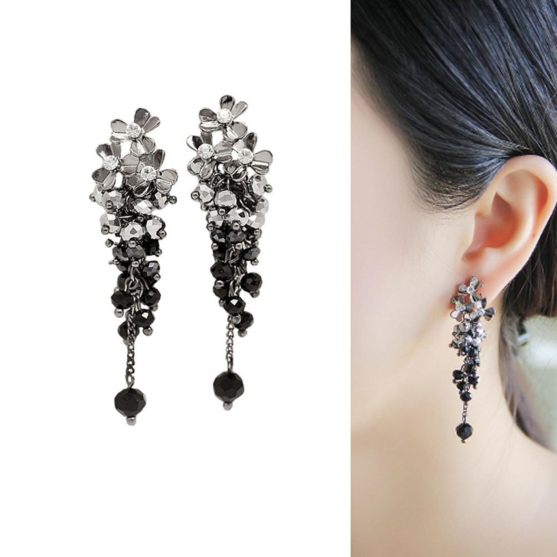 CIShop Elegant Flower Crystal Beads Dangle Chandelier Earrings For Women