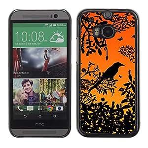 PC/Aluminum Funda Carcasa protectora para HTC One M8 Bird Tree Branch Rainforest Sunset Sitting / JUSTGO PHONE PROTECTOR