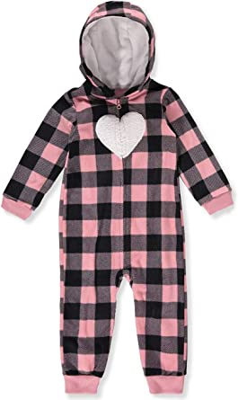Carters Baby Girls Plaid Hooded Fleece Jumpsuit