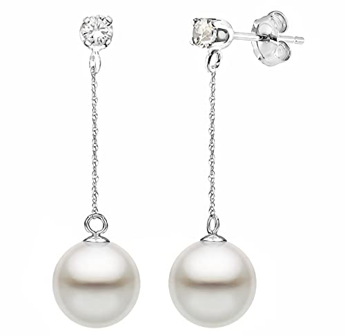 14K Gold 1 10cttw Diamond White Freshwater Cultured Pearl Stud Dangle Earrings